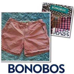 BONOBOS Men's Plaid Flat front Beach Shorts 29